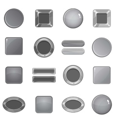 Blank web buttons icons set monochrome style vector image