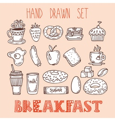 Collection of various sketches food and doodles vector