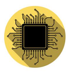 cpu microprocessor flat vector image