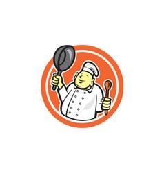 Fat buddha chef cook holding pan circle cartoon vector