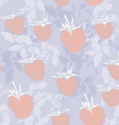 raspberry on blue background Sketch seamless vector image vector image