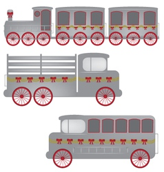 retro train truck and bus vector image