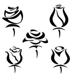 rose set of symbols vector image vector image