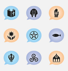 set of 9 editable faith icons includes symbols vector image