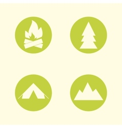 Tourist sign icon set Camping symbols Travel vector image