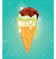 Vanilla Ice cream cone with Chocolate glaze vector image vector image