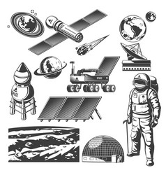 vintage space elements collection vector image