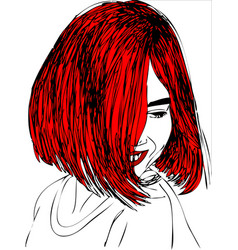 young woman with red hair one line design vector image