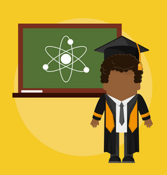 afro graduate student with class board atom vector image vector image