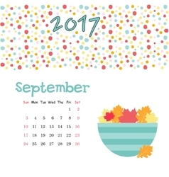 Calendar September 2017 Template Week vector image