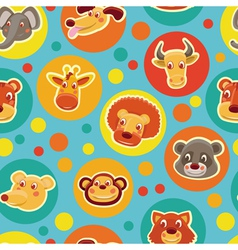cartoon animal heads vector image vector image