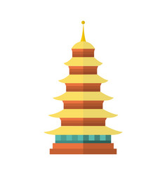 flat cartoon japan pagoda icon vector image