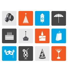 Flat party and holidays icons vector