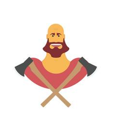 lumberman bold man with beard strong cartoon with vector image