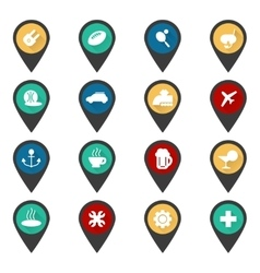 Navigation sign with flat travel icons vector image vector image