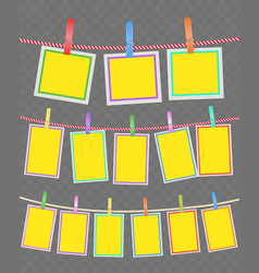 photo multicolored frames on rope with clothespins vector image vector image