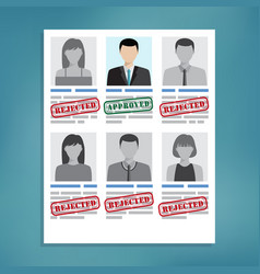 approved and rejected resumes vector image vector image