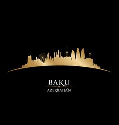 baku azerbaijan city skyline silhouette black vector image vector image