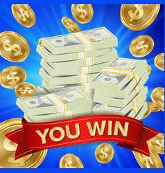 big winner background gold coins jackpot vector image vector image