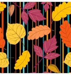 black Pattern leaves and stripes vector image