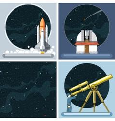 Digital silver cosmos rocket icons vector image