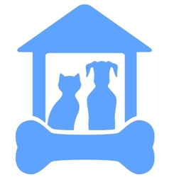 dog and cat on home with bone silhouette vector image