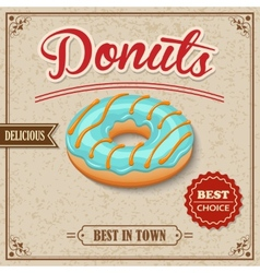 Donut retro poster vector image vector image