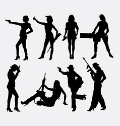 Girl and weapon sexy pose silhouette vector image vector image