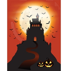 Halloween castle and pumpkins vector image vector image
