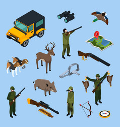 hunting isometric icon set vector image vector image