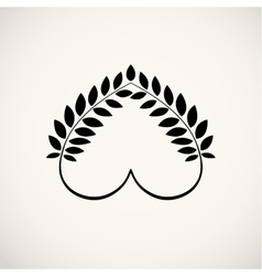 Laurel wreath heart tattoo icon wheats swirl vector