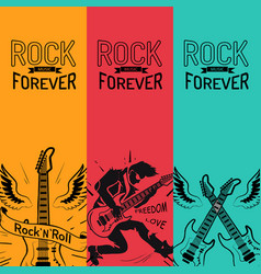rock music forever set creative colorful banners vector image vector image