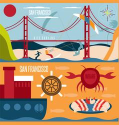 san francisco landmarks seafood and kite surfing vector image