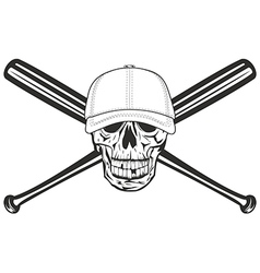 skull and crossed bat vector image vector image