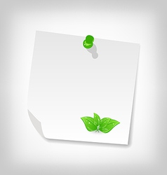blank note paper with green leaves isolated on vector image
