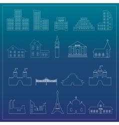 Buildings flat design web icons set vector image vector image