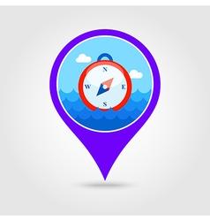 Compass pin map icon summer vector