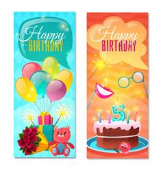 happy birthday vertical banners vector image vector image