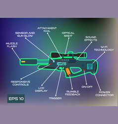 Laser tag game laser gun infographics in trendy vector