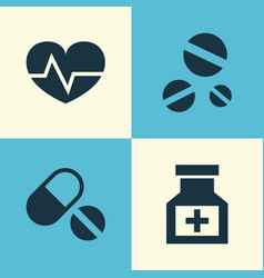 medicine icons set collection of drug beating vector image vector image