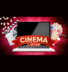 online cinema banner with laptop film vector image