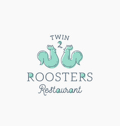 roosters restaurant abstract sign symbol vector image