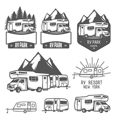 RV and caravan park badges and design elements vector image vector image