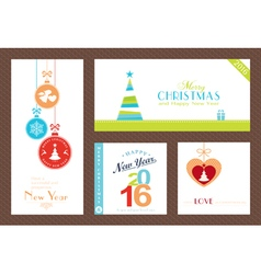 Set Flat Christmas New Years backgrounds vector image vector image