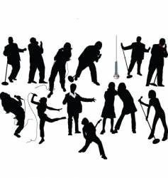 Singer silhouettes vector