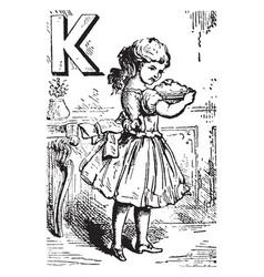 Alphabet k kept it vintage vector