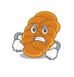 Angry challah mascot cartoon style vector