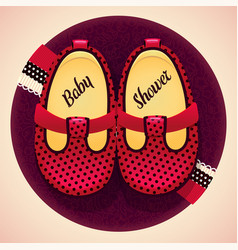 Baby shower girl red shoes and box vector