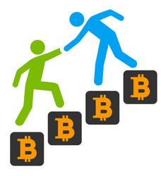 Bitcoin business climbing help flat icon vector