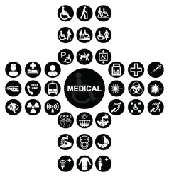 Black Medical and health care Icon collection vector